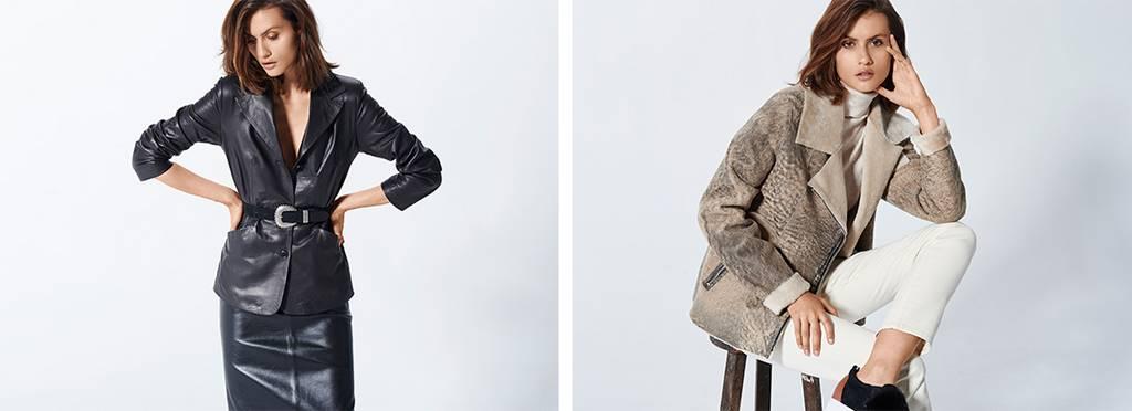 chaqueta y falda de napa negra y chaqueta cruzada doble faz crema