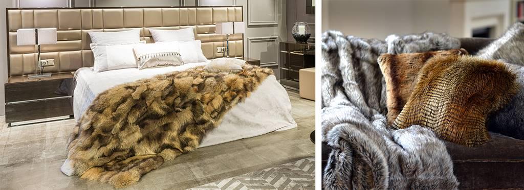 mantas y cojines de zorro y peletería para decorar