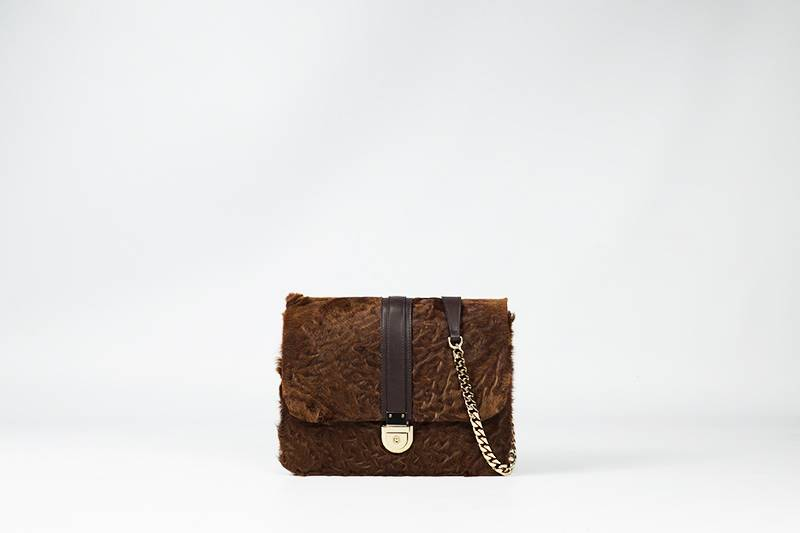 Small brown astrakhan bag