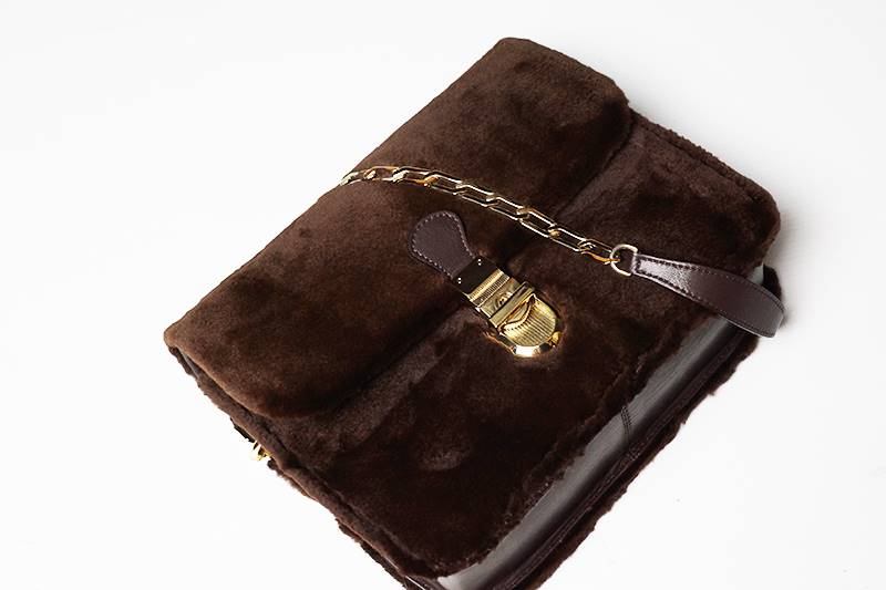 Small dark brown mink bag