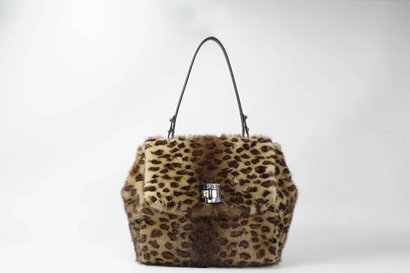 Bolso de visón estampado leopardo