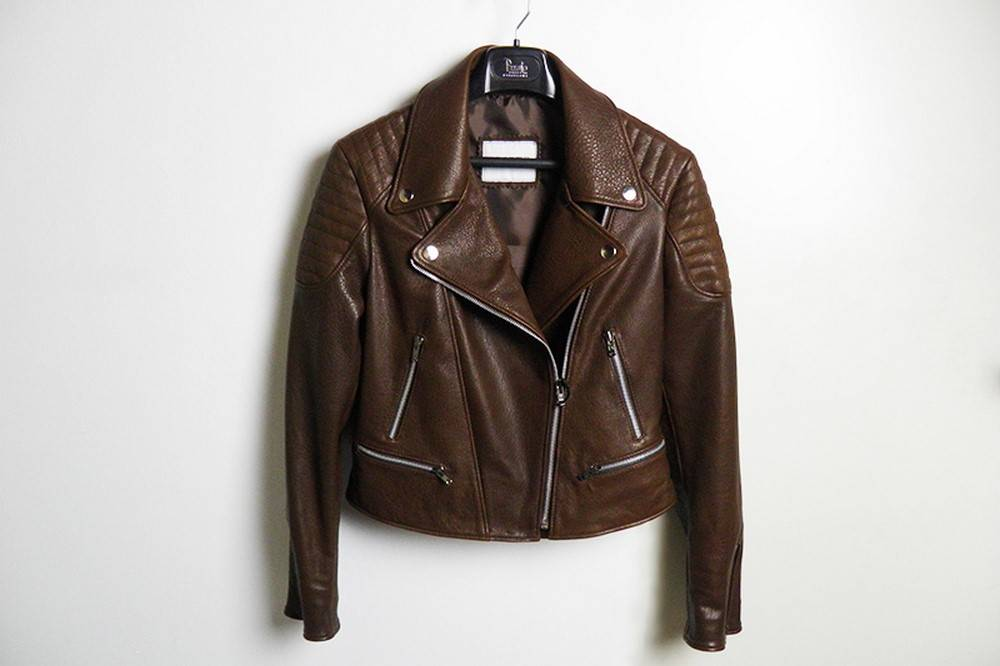 Cazadora biker de piel marrón