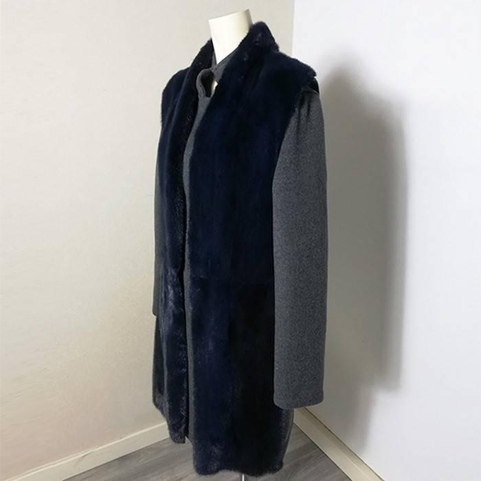 Blue mink waistcoat